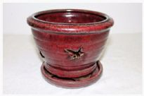 Orchid Pot, Round, 20cm, Red, Glazed, Saucer